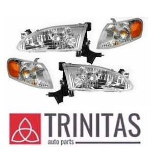 New Set 98 99 00 Corolla Headlights Headlamps Corner Parking Lights
