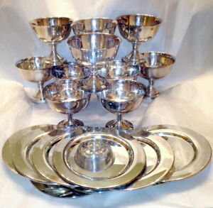 Set 10 Wm Rogers Oneida Silver Plate Goblets Dessert Sherbet Cups Chargers