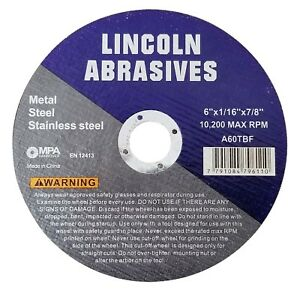 200 Pack 6 X 1 16 X 7 8 Cut off Wheel Cutting Discs Stainless Steel