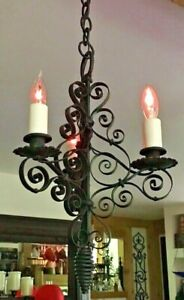 Vintage Spanish Style Three Light Wrought Iron Metal Ceiling Hanging Chandelier