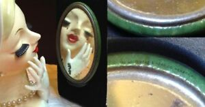 Early 1900s Celluloid COCA COLA ADVERT GREEN *Pocket MIRROR Girl drinking c.1914