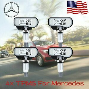 4x Car New Mercede For Benz Tyre Pressure Monitoring Sensor Wheel Valve Tpms Kit
