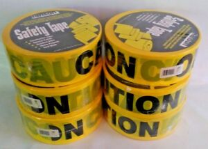 New 6 Rolls Caution Tape 3 X 1000 Total 6000 Bright Yellow Bold 2 Characters