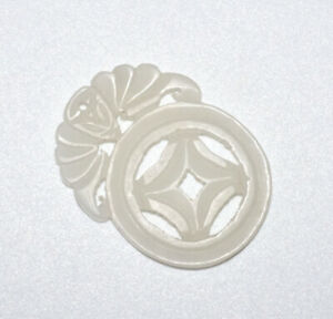 19 20c Chinese White Nephrite Jade Well Carved Pierced Coin Ornament Sup
