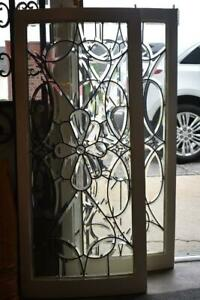 Pair Antique Curved Frame Beveled Clear Glass Windows Circa 1910