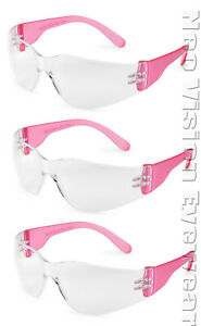 3 Pair pack Gateway Starlite Small Pink Clear Safety Glasses Womens Z87