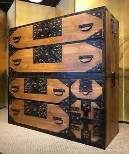 Antique Japanese Sado Tansu Clothing Chest With Crane And Tortoise Motifs