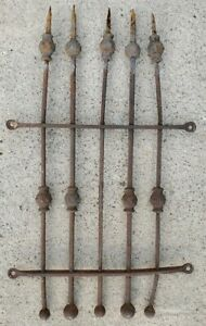 Antique Wrought Iron Fence Section Gate Window Yard Art Garden Trellis Salvaged