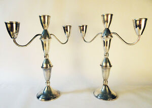 Pair 2 Duchin Sterling Silver Candlestick Candelabra Pair 3 Arm Weighted 12