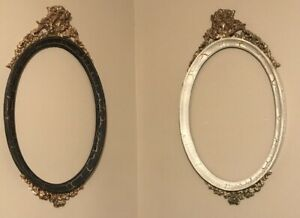 Vintage Shabby Picture Frame Oval Ornate Large Bow Lot Of 2