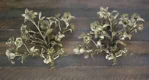 Pair Of French Brass Floral Wall Candelabra Candle Sconces W Ribbon Bow