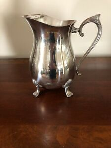 Leonard Silverplate Water Pitcher With Ice Lip And 4 Feet