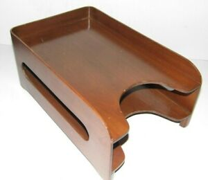 Vintage Executive Furniture Co office Paper Letter Box Desk Tray Art Deco Wood