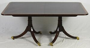 Stickley Banded Mahogany Duncan Phyfe Dining Table Williamsburg Style 3 Leaves