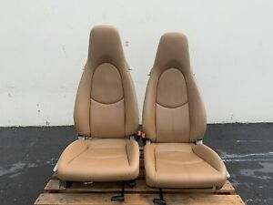 2006 Porsche Carrera 911 997 987 Front Leather Seats Beige Crest Manual Slide