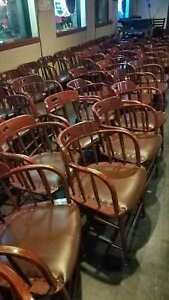Restaurant Dining Table Chairs Used Wood Leatherette Seats Seating 15 Each
