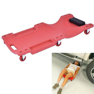Mechanics Plastic Creeper Seat Work Shop Garage Lighweight Rolling Stool 36 Red
