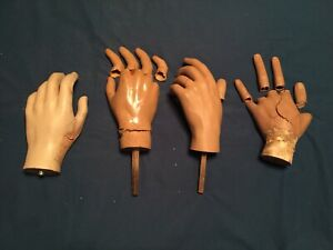 Group Of 4vintage Male Mannequin Hands Only All With Damage And Parts Shown