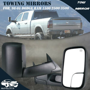 Pair Left right Power heated Tow Mirrors1998 2001 Fit Dodge Ram 1500 2500 3500