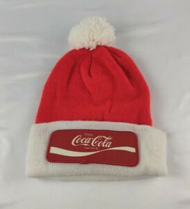 Vintage Knit Stocking Beanie Red & White W / Coca Cola  Patch Promo Winter Hat