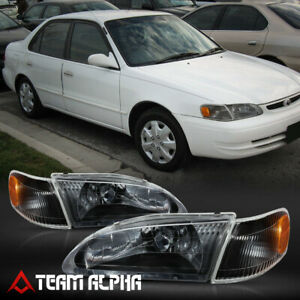 Fits 1998 2000 Toyota Corolla Black Clear Amber Corner Headlight Headlamp Lamp