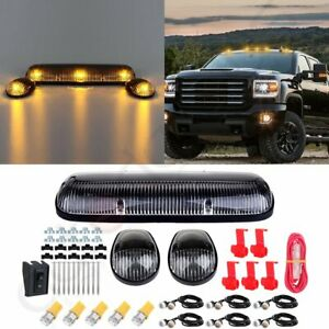 3pcs Clear Cab Roof Marker Lights T10 Amber Led For Chevy Silverado gmc Sierra