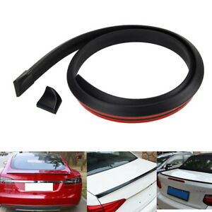 4 9ft 1 5m Black Pu Car Rear Roof Trunk Spoiler Wing Lip Stickers Universal