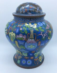 Chinese Antique Signed Large Cloisonne Bronze Jar Qing Dynasty 9