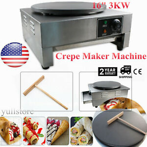 16 3kw Commercial Electric Single Crepe Maker kitchen Pancake Machine Nonstick
