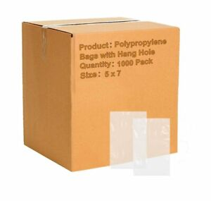 Apq Pack Of 1000 Polypropylene Bags With Hang Hole 5 X 7 Clear Plastic Bags