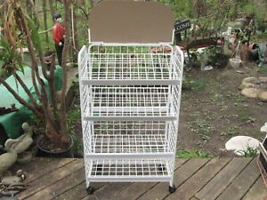 Folding Convenience Store Flea Market White Wire Floor Display Rack 4 Shelves