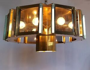 Mcm 24 Fredrick Ramond Sputnik Brass Smoke Glass Octagon Vintage Ceiling Light