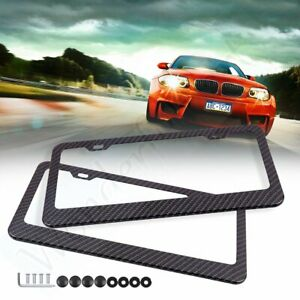 2x Carbon Fiber Look License Plate Frame Cover With Screw Caps For Lexus Honda
