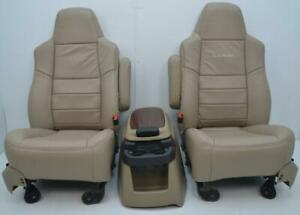 Ford F250 F350 Super Duty Lariat Tan Front New Leather Seats Center Console