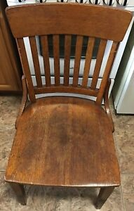 Antique 1927 Oak Library Chair School Desk Seat Milwaukee Chair Company