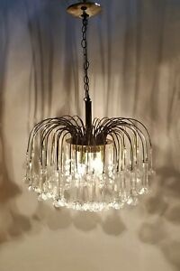 Vintage Murano 3 Tier Italy Hand Blown Glass Flowers Chandelier Brass Pendant
