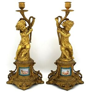 French Pair Of Napoleon Iii Candlesticks In Bronze And Painted Porcelain 1860 Ca