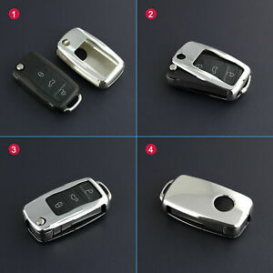 Finer Electro optic Silver Car Flip Key Case Holder For Volkswagen Accessories