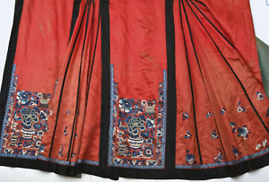 1900 S Chinese Silk Embroidery Skirt Lady Robe Flower Vase Qing Dynasty