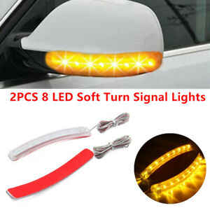 2x Yellow Car Side Mirror Led Amber Indicator Lamp Soft Turn Signal Light Strips