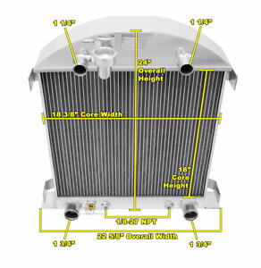 3 Row Er Champion Radiator For 1928 1929 Ford Model A Flathead V8 Conversion