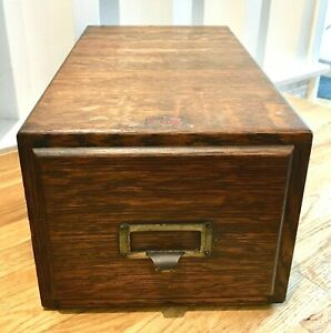 Weiss Tiger Oak 1 Drawer File Box Vintage Wood Library Index Card Ex Cond