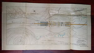 1910 Panama Canal Pacific Division Chart Map For Pedro Miguel Lock