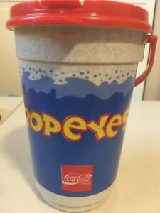 Vintage Popeyes Chicken Coca-Cola Coke Mug Cup With Lid Whirley Soda The Bucket