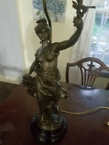 Antique Spelter Statue Lamp By Louis Moreau Of France 1834 1917