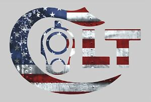 Colt 1911 With American Usa Flag Gun Rights Tool Box Bumper Sticker Vinyl Decal