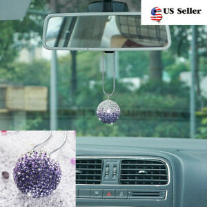 Crystal Disco Ball Charm Hanging Ornament For Car Rear View Mirror Pendant Home