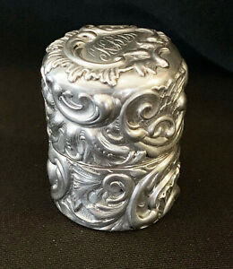 Antique Tiffany And Company G Shiebler Sterling Silver Thimble Pill Box