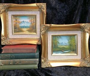 Vintage Lot 2 Signed Oil Paintings Matching Ornate Gold Gilt Wood Frames 9 X 8