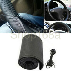 Car Steering Wheel Cover Diy Hand Sewing Pu Leather With Needles Thread Black